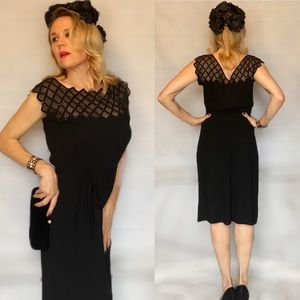 Vintage Black Crepe Jersey Dress - Circa 1940s